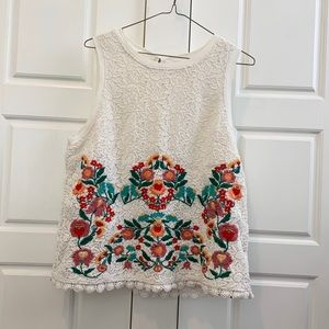 Anthropologie Maeve Embroidered Floral Shell Top L